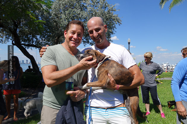 Russell Hartstein and Steve Guttenberg with miami foster dog
